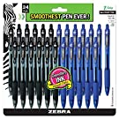 ZEBRA PENS, bulk pack of 24 ink pens, Z-Grip Retractable ballpoint pens Medium point 1.0 mm, 12 black pens & 12 Blue pens combo pack