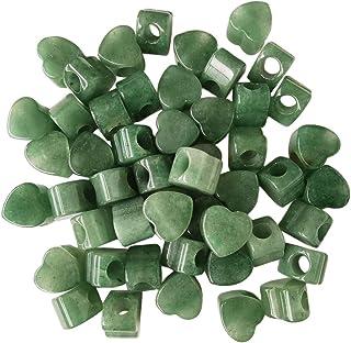 Loveliome 10 Pcs Large Hole Loose European Bead, Heart Love Jewelry Making Supplies fits Charm Bracelet, Stone, Green Aven...
