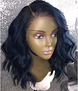 Ten Chopstics 13X6 Lace Front Wigs Short Bob Wavy Human Hair Deep Part Wigs With Baby Hair 130% Natural Color Brazilian Virgin Hair Wig Side Part in Stock