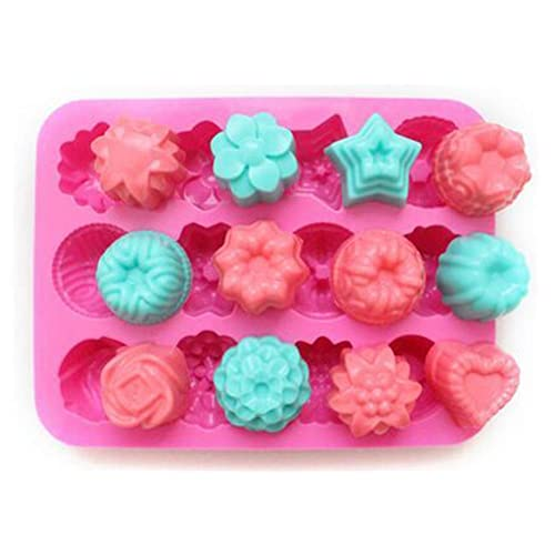 niceeshop(TM) 12 Cavity Flowers Silicone Non Stick Cake Bread Mold Chocolate Jelly Candy