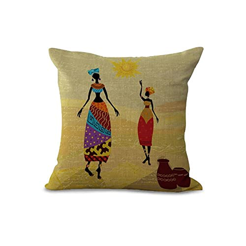 ca8857113c3 Cushion Covers Pads 18x18 inch 45cmx45cm Color Hand Drawn Ethnic Style  Series African Women Beige