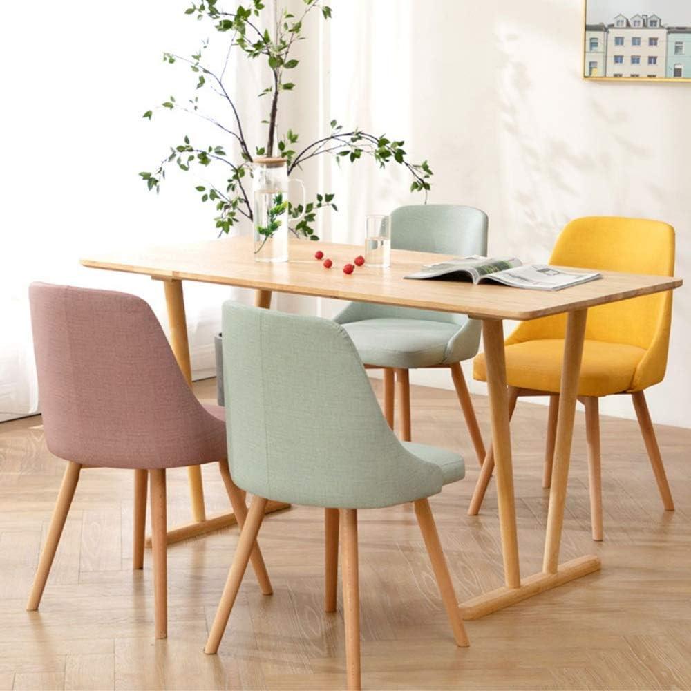 LJFYXZ Chaises Salle Manger Simplicité moderne Dinette de cuisine Tissu respirant Chaise de bureau Pieds en bois massif (Color : Blue) Pink