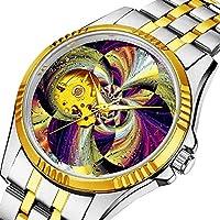 時計、機械式時計 メンズウォッチクラシックスタイルのメカニカルウォッチスケルトンステンレススチールタイムレスデザインメカニ (ゴールド)-111. アメジストとゴールドのツートンウォッチ