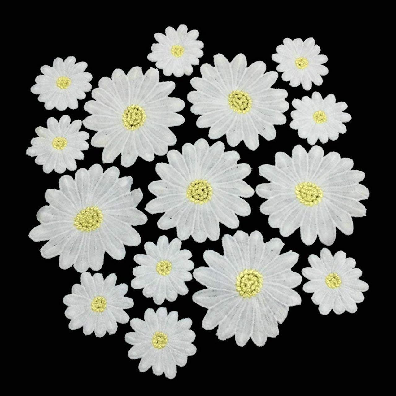 Daisy Flowers Embroidered Sew On Applique Floral Lace Patch Milk Fiber Sewing Trims Clothes Wedding Dress Craft DIY (White)