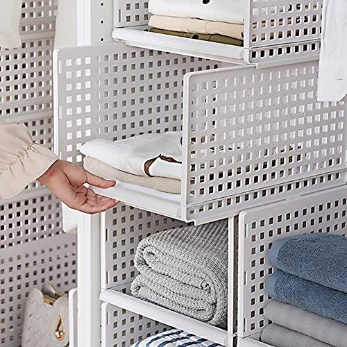 HyFanStr Stapelbarer Kleiderschrank-Organizer, Kunststoff, weiß, Kleiderschrank-Regale abnehmbar, Schrank-Organizer, 4 Ablagen