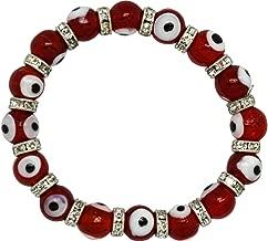 Evil Eye Glass Bead Bracelet - Transparent Red Eyes - Nazar Boncuk Glass Eyeball Elastic Wristband