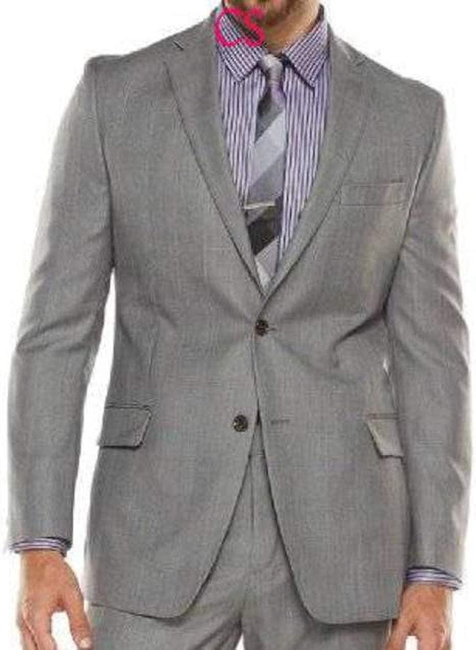 Marc Anthony Mens Gray Slim Fit Luxury Wool Silk Blend Suit Jacket