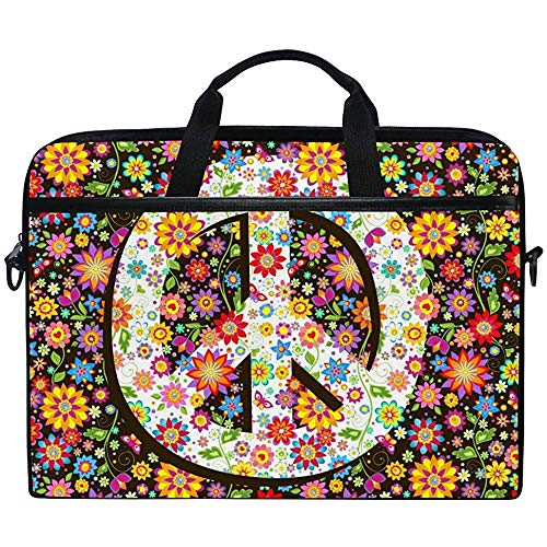 Peace Sign Flower Floral Laptop Bag Case Sleeve Briefcase Waterproof Shoulder With Strap For Ultrabook Notebook 14 Inch