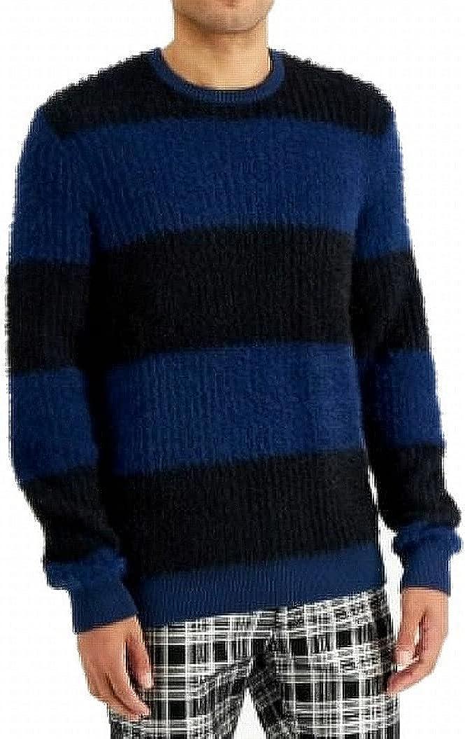 INC Mens Sweater Black Medium Fuzzy Knit Rugby Stripe Pullover Blue M