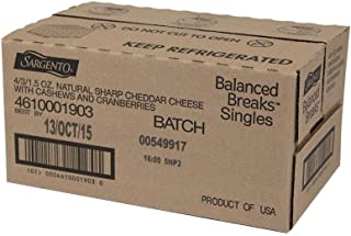 Sargento Balanced Breaks Single Natural Sharp Cheddar Cheese with Cashews and Cranberries, 1.5 Ounce -- 12 per case.