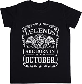 Legends Are Born In October Unisexo Niño Niña Camiseta Negro Todos Los Tamaños - Unisex Kids Boys Girls's T-Shirt Black