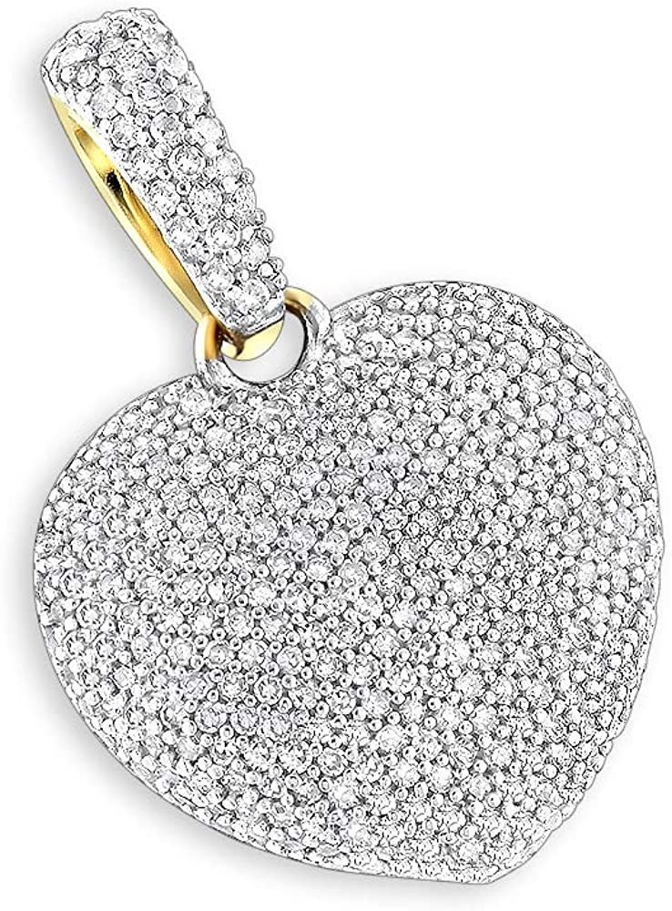 Puffed Heart Round Diamond Chain Necklace 0.92ctw in 14k Gold by Luxurman