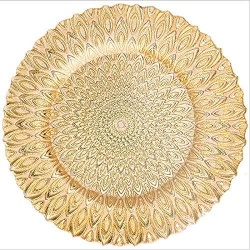 Lsdnlx Fruteras,Placas de Cargador de patrón de Pavo Real de diseño Elegante de plástico de 6 Piezas para decoración de Eventos de Boda