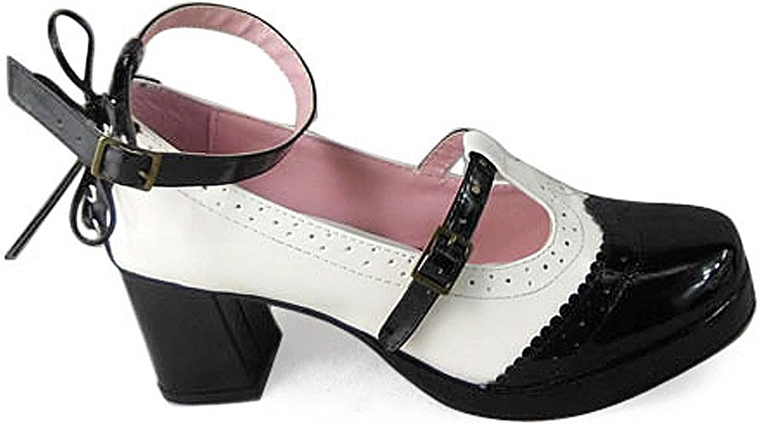 Antaina Mid Heel Black and White PU Sweet Retro Gothic Lolita Casual shoes