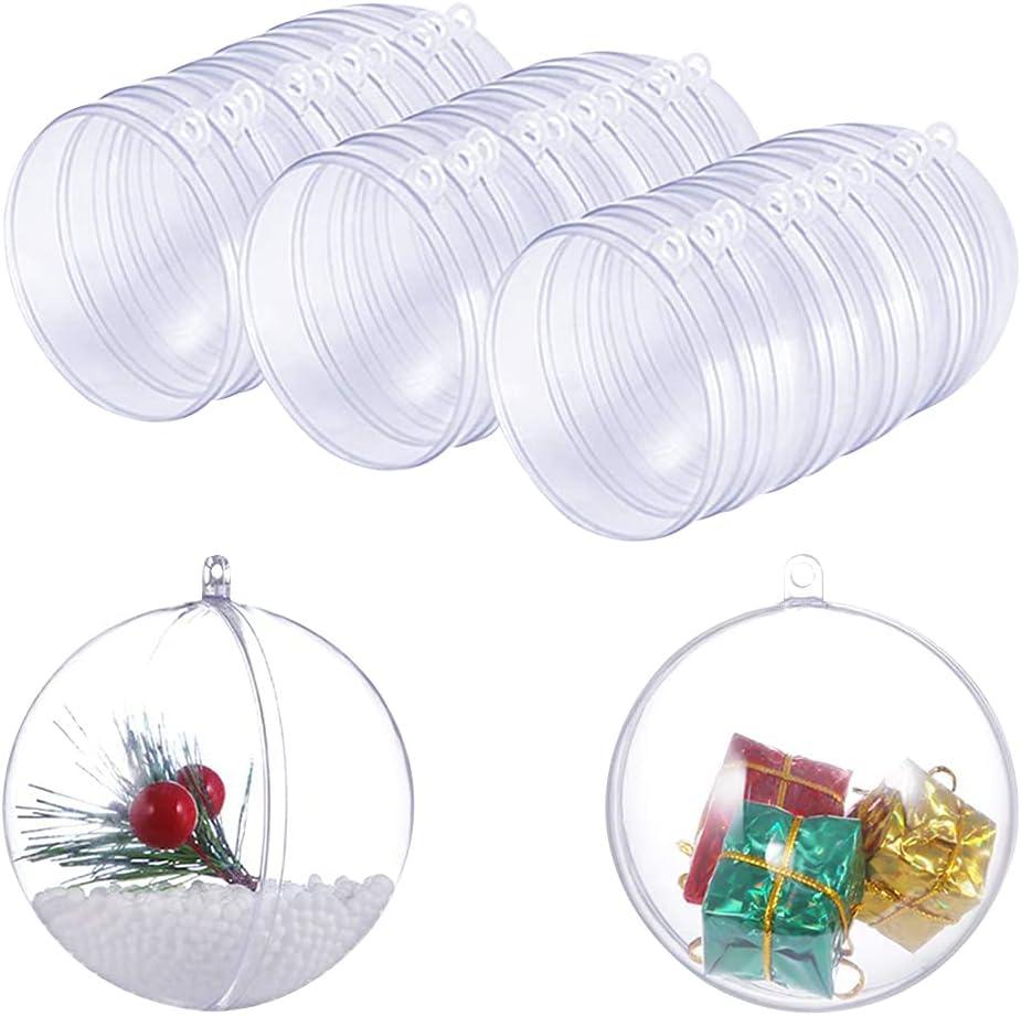 30PCS Molde de Bomba de Baño de Plástico Transparente DIY seifenform para Manualidades Bola de Adorno de Navidad, 70mm, 15 Set