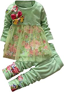 Toddler Baby Girls Fall Winter Clothes Outfit 1-3 Years Old,2Pcs Floral Bowknot T-Shirt Tops Dress and Pants Set