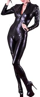 Forever Young Combinaison sexy avec fermeture éclair 4 voies en PVC Spandex brillant pour femme - Noir - 42