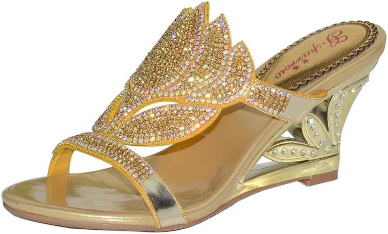 Doris Fashion GS-T005p Women's Evening Wedding Heels Slippers Lotus Floral Glitter Rhinestone Wedges Sandals