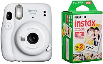 Fujifilm Instax Mini 11 Instant Film Camera, Ice White - with Fujifilm instax Mini Instant Daylight Film Twin Pack, 20 Exposures