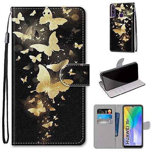 Miagon Flip PU Leder Schutzhülle für Huawei Y6P,Bunt Muster Hülle Brieftasche Case Cover Ständer mit Kartenfächer Trageschlaufe,Gold Schmetterling