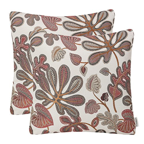 Mika Home Set of 2 Jacquard Tropical Leaf Pattern Throw Pillow Covers Decorative Pillowcase 20X20 Inches,Coral Cream