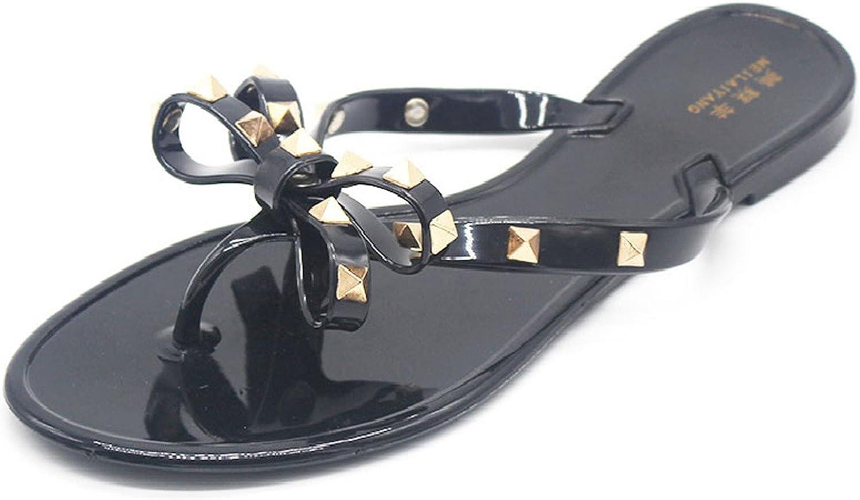 Henraly Summer Fashion Women Sandals Rivet Studs Flip Flops Slip on Beach Slides Women Sandals
