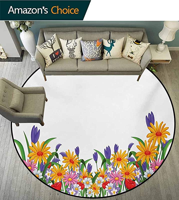 RUGSMAT Flower Round Rugs For Bedroom Cartoon Style Print With Garden Bedding Plants Floral Daisies Violets Tulips Nature Circle Rugs For Living Room Diameter 47 Inch Multicolor