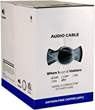 Audio Cable, 14AWG, 2 Conductor, 41 Strand, 500 ft, PVC Jacket, Pull Box, Black