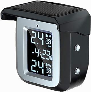 Zwbfu TS08-4 TPMS Monitor de pressão de pneus de motocicleta USB + carga solar Tela vermelha Sistema de alarme de pressão ...
