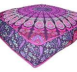 ANJANIYA - Funda de cojín para yoga, tamaño grande, cuadrada, para cama de perro al aire libre, con diseño de mandala bohemio y otomana