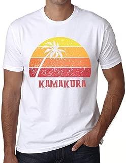 Men's Vintage Tee Shirt Graphic T Shirt Kamakura Sunset White