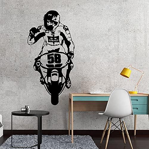 Pegatinas de pared de motocicleta de dibujos animados pegatinas de pared papel tapiz de arte de pared para decoración de habitación de niños calcomanías de pared a prueba de agua A3 57x28cm