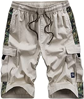 APTRO Men's Summer Outdoor Cargo Shorts Relaxed Fit Multi-Pockets Elastic Waist Casual Shorts