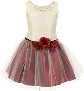 9dce0413fb7e Kiki Kids Big Girls Burgundy Lace Taffeta Pearl Stone Accent Flower Girl  Dress 8-12