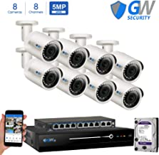 GW Security Super HD 8 Channel 4K NVR Security System with 8 IP H.265 5MP (2.5 X 1080P) PoE Security Cameras, 100ft Night Vision, 2 TB HDD