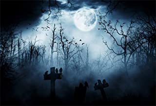 Leyiyi 5x3ft Gothic Happy Halloween Backdrop Grunge Misty Graveyard Grave Stone Cross Crows Foggy Forest Full Moon Bats Photography Background Horror Costume Carnival Photo Studio Prop Vinyl Banner