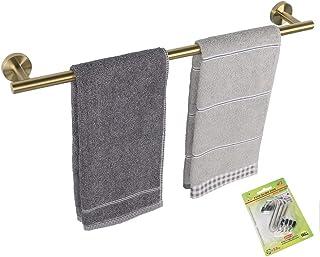 TocTen バスタオル バー - 厚め SUS304 ステンレススチール バスルームタオルホルダー タオルロッド バスルーム用 高耐久 壁掛けタオルラックハンガー (30インチ、ゴールド)