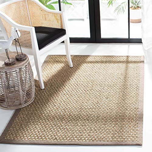 Safavieh Natural Fiber Collection NF114P Basketweave Natural and Grey Summer Seagrass Area Rug (8' x 10')