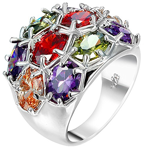 XAHH Women 925 Sterling Silver Plated Oval Cut Colorful Multicolor Multi-Stone CZ Party Big Ring Promise Band 7