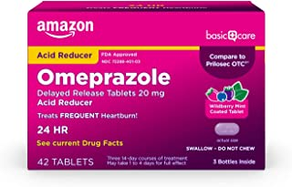 Amazon Basic Care Omeprazole Delayed Release Tablets 20 mg, Acid Reducer, Wildberry Mint Coated Tablet, Wild Berry Mint Fl...