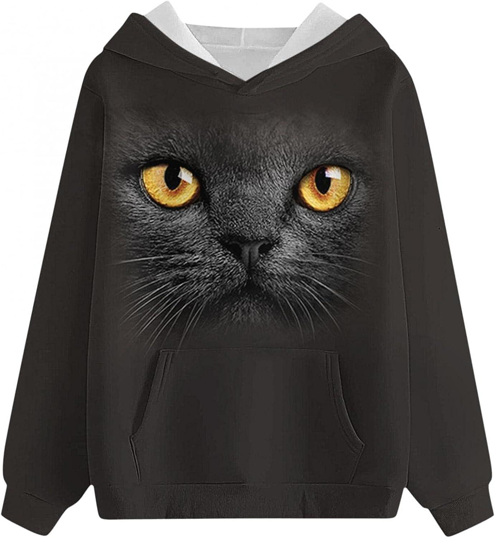 COMVALUE Womens Hoodies,Womens Pullover Sweatshirts Cute Printed Pocket Long Sleeve Loose Casual Tops