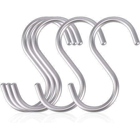 【Amazon限定ブランド】labato S字フック Sじフック フックS字 汎用フック Sカン 吊り下げ 小物掛け 落ちない おしゃれ 錆防止 アルミニウム合金製 丈夫 しっかり 固定 5枚セット クローゼット ウォール キッチン 浴室 (S(42*85mm))