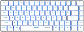 Epomaker Ajazz AK33 82 Keys No Bluetooth Mechanical Keyboard with for Gamer, Programmer, Office, Work for Android Windows(Blue Backlit Blue Switch White)