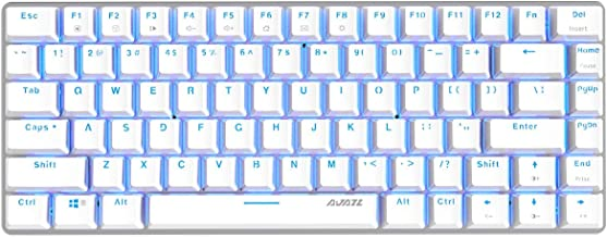 Epomaker Ajazz AK33 82 Keys No Bluetooth Mechanical Keyboard for Gamer, Programmer, Office, Work for Android Windows(White Backlit Blue Switch Black)