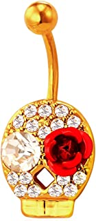 U7 14G Body Piercing Jewelry Flower Head With Pearl 18K Gold Plated Navel Belly Ring