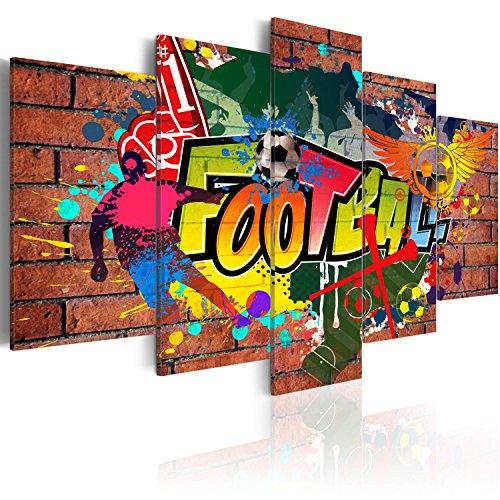 murando - Cuadro en Lienzo 100x50 cm Impresión de 5 Piezas Material Tejido no Tejido Impresión Artística Imagen Gráfica Decoracion de Pared Graffiti Futbol 020105-18
