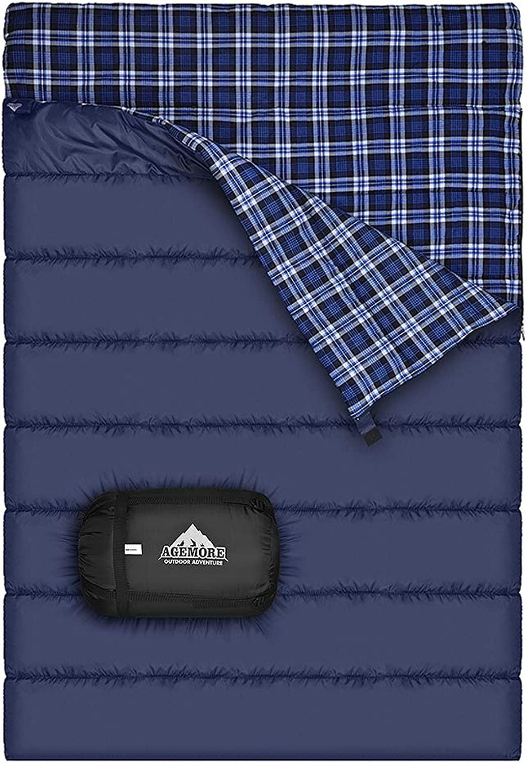 Agemore Cotton Flannel Double Sleeping Bag for Camping, Backpacking, Or Hiking. Queen Size 2 Person Waterproof Sleeping Bag for Adults Or Teens. Truck, Tent, Or Sleeping Pad, Lightweight