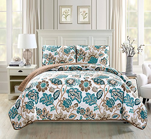 Fancy Collection 3pc Oversize Quilted Coverlet Bedspread Set New (Full/Queen, White, Brown, Teal)