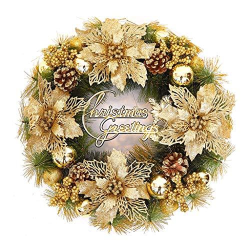 NYKK Corona de Puerta de Entrada Corona de Navidad Otoño e Invierno Puerta Que cuelga de la Guirnalda Guirnalda del Oro Artificial Inicio Puertas y Ventanas Decoración Corona de simulación