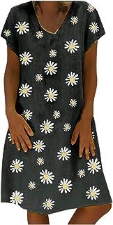 Women Plus Size Casual Dress, Ladies Floral Printed Short Sleeve Loose Mini Short Dress